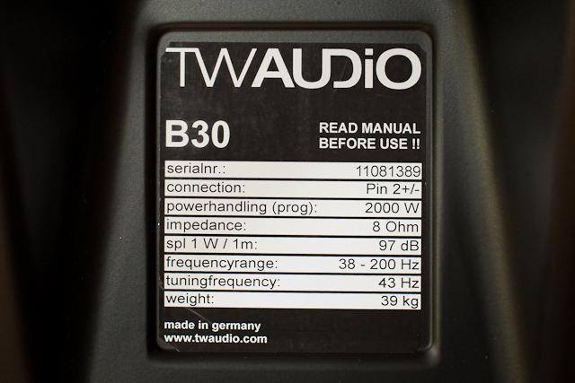 TW Audio B30 Technische Daten