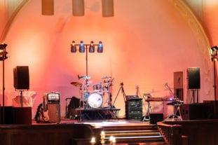 Die Bühne für unsere Band im Stadtwaldhaus in Krefeld.